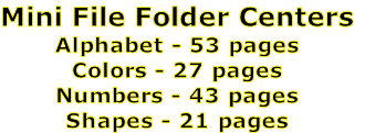 Mini File Folder Centers Alphabet - 53 pages Colors - 27 pages Numbers - 43 pages Shapes - 21 pages